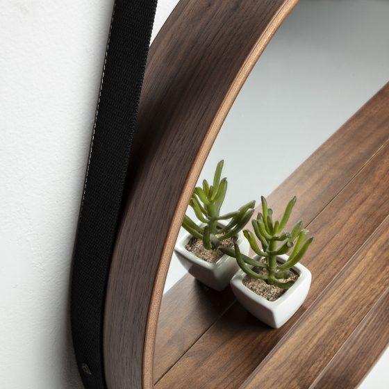 Espejo redondo pared con estantes y correa dindonliving