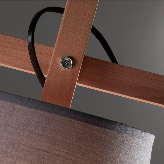 Lámpara de pie regulable madera y gris dindonliving