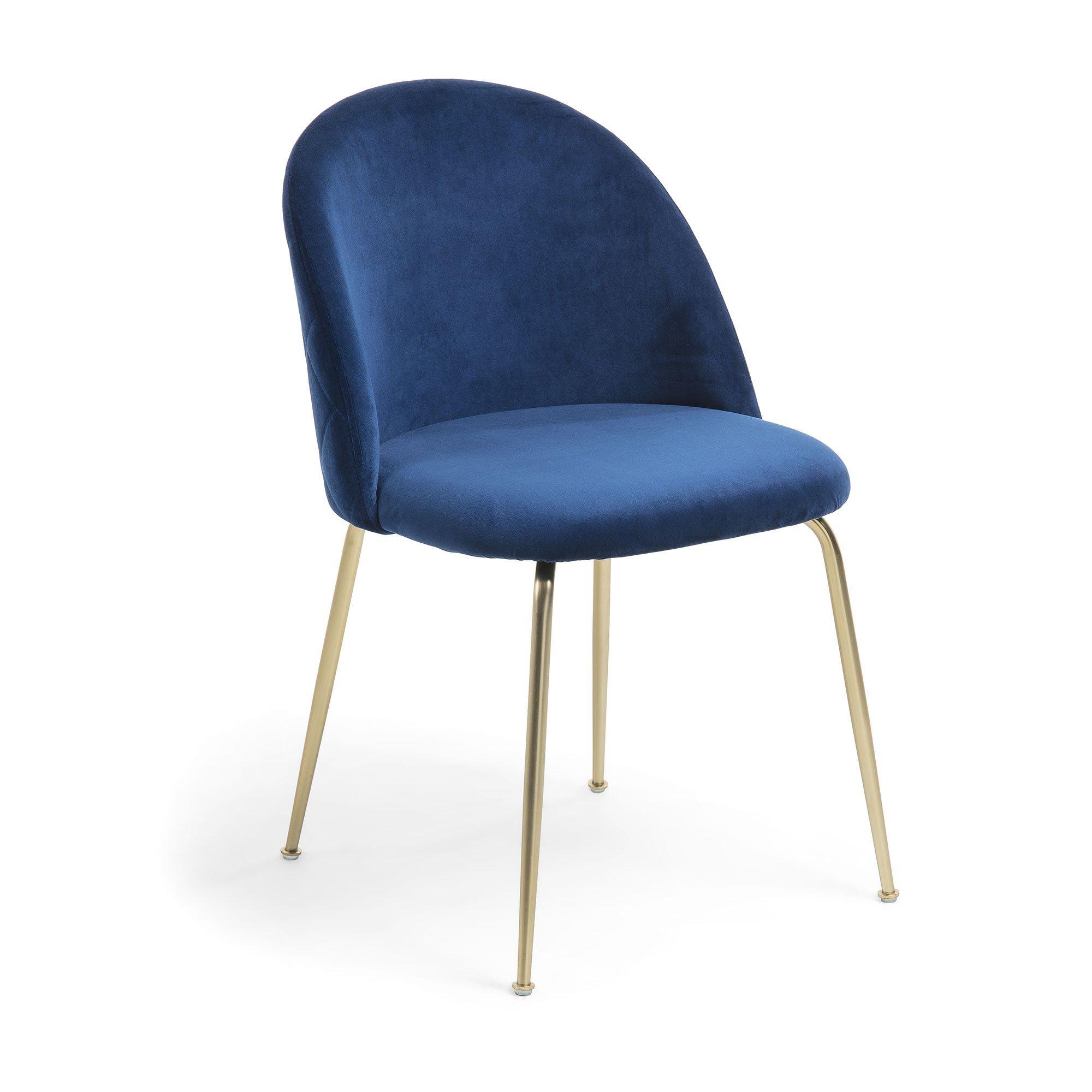 Silla terciopelo azul con patas doradas dindonliving