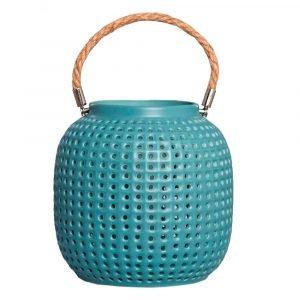 Lámpara de mesa azul cerámica con cuerda-dindonliving