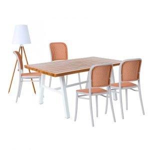 Conjunto para comedor exterior blanco y madera - dindonliving