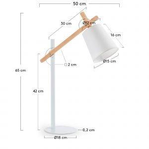 Lámpara de sobremesa blanca con brazo de madera Albali – dindonliving 03